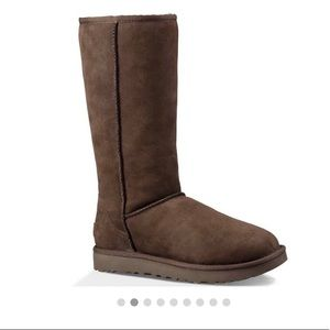 Uggs, classic tall brown cozy boots.
